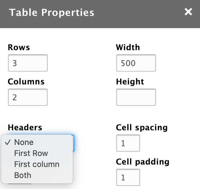 Screenshot in Drupal 8 of the table functionality in the text editor