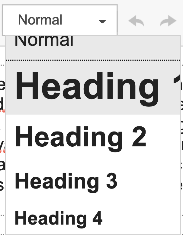 Screenshot of the Variations of Heading sizes in Drupal