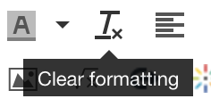 Clear formatting button